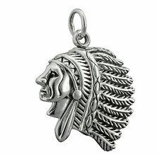 7g Solid 925 Sterling Silver American Indian Head   Man Chief Pendant BELDIAMO