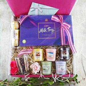 YANKEE CANDLE HAMPER BOX GIFT SET VOTIVE HOLDER CHOCOLATE TREAT FOR HER BIRTHDAY