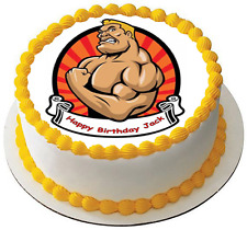 STRONG MUSCLE MAN 7.5 PREMIUM Edible ICING Cake Topper CAN BE PERSONALISED 1