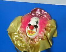"Vintage Mardi Gras Ceramic Clown Face Mask Wall Hanging 9.5""L"