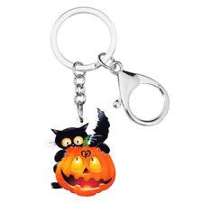 Acrylic Halloween Pumpkin Black Cat Keychain Rings Bag Jewelry For Women Charms