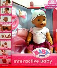 Baby Born Interactive Baby Doll Feed Bottle Cries Pees Poops Change Diaper