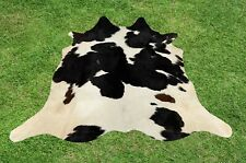 Small Cowhide Rugs Black Real Hair on Cow Hide Skin Area Rug Leather 4.5 x 4 ft