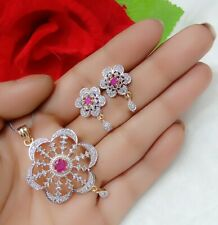 Ruby Studded American Diamond Flower Theme Charming Pendant Set For Women's Wear