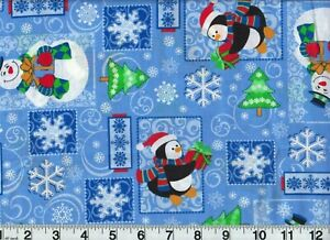 Vintage Christmas Jolly Snowflakes Cotton Fabric Holiday OOP New Old Stock