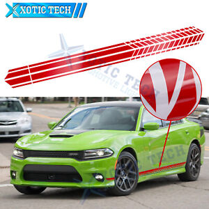 """86"""" Red Sport Style Side Fender Skirt Decal Graphics Stripes Sticker For Dodge"""
