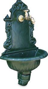 """Garden Tap Wall Feature Cast Iron Green 725mm - 1/2"""" FBSP - Antique Style Brass"""
