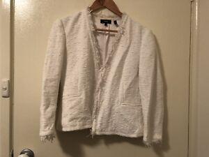 White Theory Cotton Tweed 3/4 Sleeve Jacket AU 12