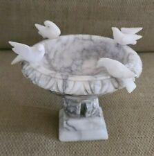 Vintage Carved Alabaster Marble Bird Bath Pedestal Bowl 4 Birds Tabletop Italy