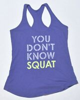 "Woman's OLD NAVY ACTIVE Blue Tank Top Sleeveless ""Squat"" Size Medium M"