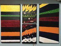 ANTONIO AVITIA SIGNED MODERN ORIGINAL ART OIL MIXED-MEDIA ON CANVAS