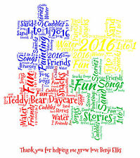 Personalised Thank You Nursery Teacher Word Art Print -  Puzzle Pieces