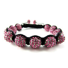 ICED OUT PINK WHITE SILVER DISCO BALL HIP HOP CZ PAVE BLING BEADED BRACELET