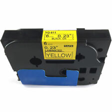 Fit for Brother P-Touch Laminated Tze Tz Label Tape 6mm Black on Yellow