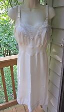 Vtg Barbizon Nylon Full Slip Gown Ivory Satin De Lys Lace Sz 14~l960's Rapture
