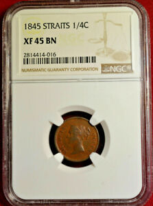 1845 Straits Settlements 1/4 Cent, NGC XF45 BN, Nice Coin