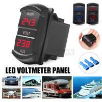 Dual Voltmeter Voltage Battery Monitor LED Display Indicator 12V-24V Car