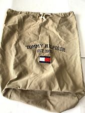 Tommy Hilfiger Large Vtg duffle bag Khaki  Rope tie string Box Flag Spell Out