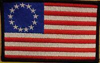 Betsy Ross Flag Patch W/ VELCRO® Brand Fastener Black Border White Stars US