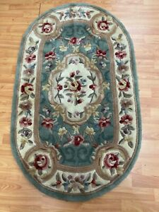 """3'6"""" x 4'1"""" Oval Chinese Aubusson Oriental Rug - Hand Made - 100% Wool"""