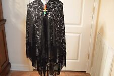 "Shawl Wrap Black Lace 8 1/2"" Fringe Absolutely Gorgeous"
