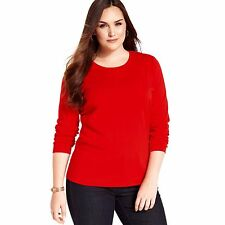 Jones New York Size Small Poppy Red Crewneck Casual Long Sleeve 100% Cotton Top