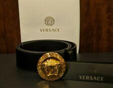 NEW Black Leather Versace Medallion Medusa Belt 36 inches / 90cm
