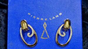 Pierre Lang Edle Ohrclips Ohrringe Creolen vergoldet mit Steinchen Zirkonia OVP