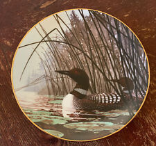 """1986 Hadley House Collector Plate by Artist Les Didier """"Quiet Water"""" Loons 8.5"""""""