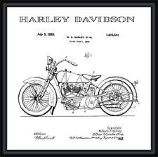 Harley Davidson Moto Vintage patente Blueprint cartel A4