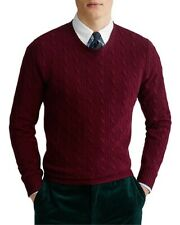 NEW $398 POLO RALPH LAUREN WINE RED CABLE KNIT 100% CASHMERE SWEATER SIZE M