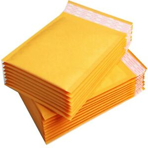 100 A5 Gold Padded, Bubble Lined Envelopes MAIL Cheap Brown Yellow 180x265mm