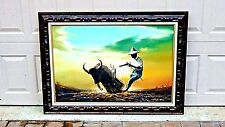 EARLY 20c ASIAN CHINESE ORIGINAL OIL PAINTING OF A FARMERS,BULL&PLOW,SIGNED