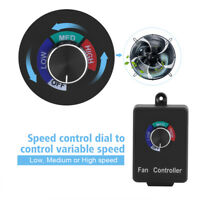 Speed Controller Inline Fan Duct Variable Blower Air Vent Control Knob Switch US