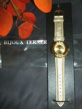 NEW DESIGNER WATCH BIJOUX TERNER GOLD TONE BAND QUARTZ FAUX DIAMONDS GREAT GIFT
