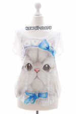 TP-12 Katze Cat Schleife weiß süß Print kurzarm T-Shirt Lolita Harajuku Japan