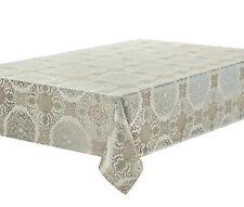 "Waterford Linens Jonet Tablecloth 70"" x 104"" Cream & Dusty Aqua New"