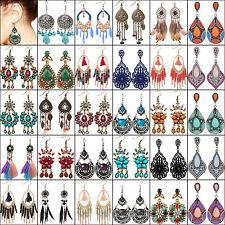 NT Boho Women Rhinestone Feather Tassel Ear Stud Earrings Dangle Crystal Chain