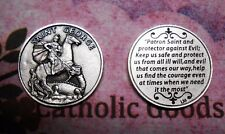 St. Saint George with Prayer - Silver tone  Pocket Coin