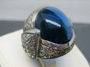 925 SterlingSilver Certified 9 Ct Sapphire Stone ValentinesMen Ring US12