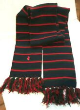 Polo Ralph Lauren Merino Wool Green Navy Red Stripe Long Fringed Stadium Scarf