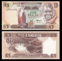 ZAMBIA 5 Kwacha, 1980-88, P-25, Eagle, UNC World Currency