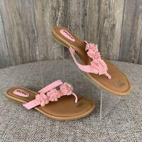 Tidewater Sandals Women's Size 10~Pink/Beige Flowers Flats Thong Slip-On