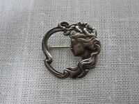 VINTAGE STERLING SILVER ART NOUVEAU LADIES FACE PIN BROOCH 1""