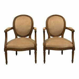 French Louis XVl Solid Mahogany Accent Chairs or Bergeres Chairs 1910s - a Pair.