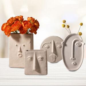 Creative Design Face Vase Planter Nordic Ceramic 3D sculpture Flower Decoration