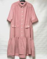 DESIGNER ME+EM DUSKY PINK POCKET SHIFT DRESS DIP HEM UK 14 EX CON RRP £275