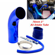 "Blue Universal 3"" Aluminum Car Cold Air Intake Induction Pipe Filter Tube System"