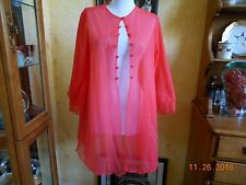 Vintage Sears Nylon Chiffon Short Robe Nightie Buttons Double Layer 32/34.