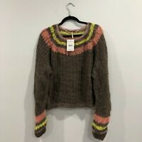 NWT Free People Pullover Wide Neck Cropped Sweater Womens XS X-Small Sunbright